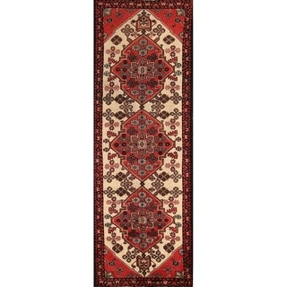 "Hamedan Hand Made Vintage Persian Geometric Rug - 10'3"" x 3'7"" Runner"