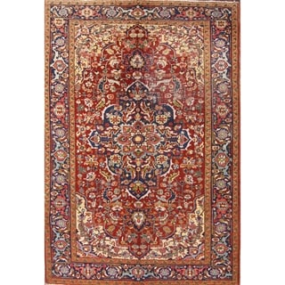 "Classical Heriz Serapi Vintage Persian Hand Knotted Wool Area Rug - 9'10"" x 6'10"""