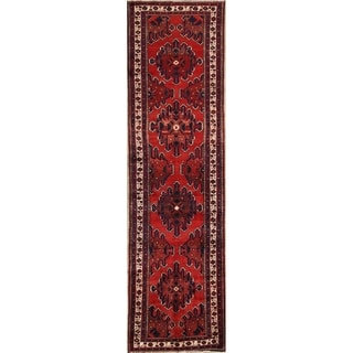 """Hamedan Hand Made Wool Vintage Persian Geometric Rug - 12'10"""" x 3'5"""" Runner"""