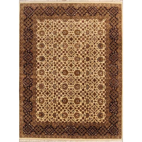 """Agra Hand Knotted Wool Oriental All-Over Floral Traditional Area Rug - 12'0"""" x 9'1"""""""