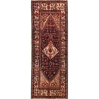 """Hamedan Handmade Wool Vintage Persian Geometric Rug - 10'5"""" x 3'9"""" Runner"""
