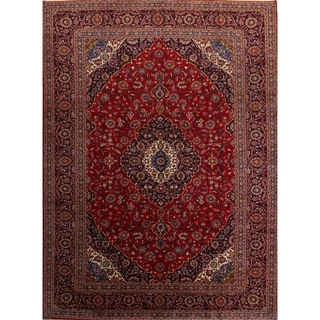 """Medallion Kashan Vintage Persian Hand Knotted Area Rug - 13'5"""" x 9'10"""""""