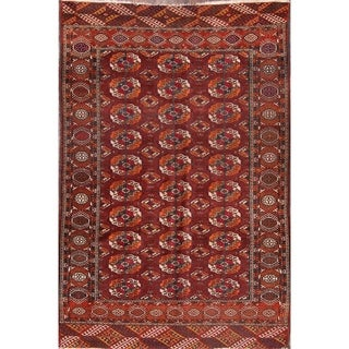 "Geometric Antique Hand Knotted Kazak Oriental Area Rug - 6'10"" x 4'7"""