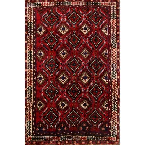 "Geometric Tribal Shiraz Hand Knotted Wool Persian Area Rug - 8'1"" x 5'3"""