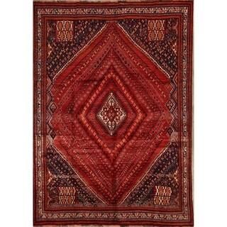"Shiraz Kashkoli Handmade Vintage Persian Geometric Area Rug - 9'11"" x 7'0"""