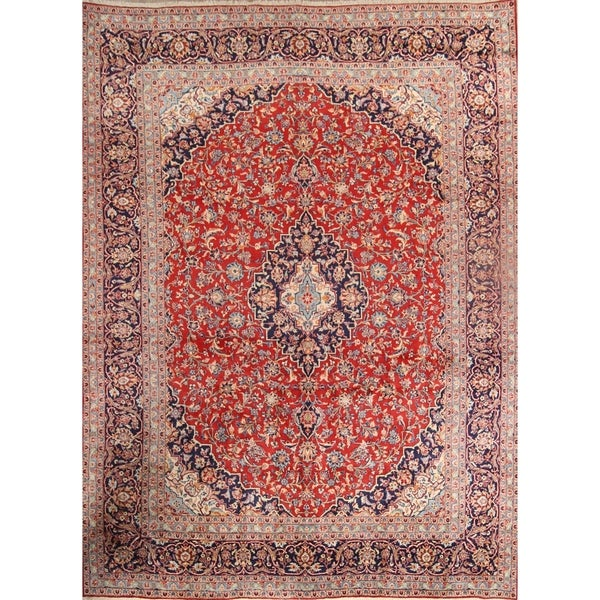 Shop Classical Kashan Medallion Hand Knotted Persian Wool: Shop Floral Kashan Hand Knotted Vintage Persian Medallion