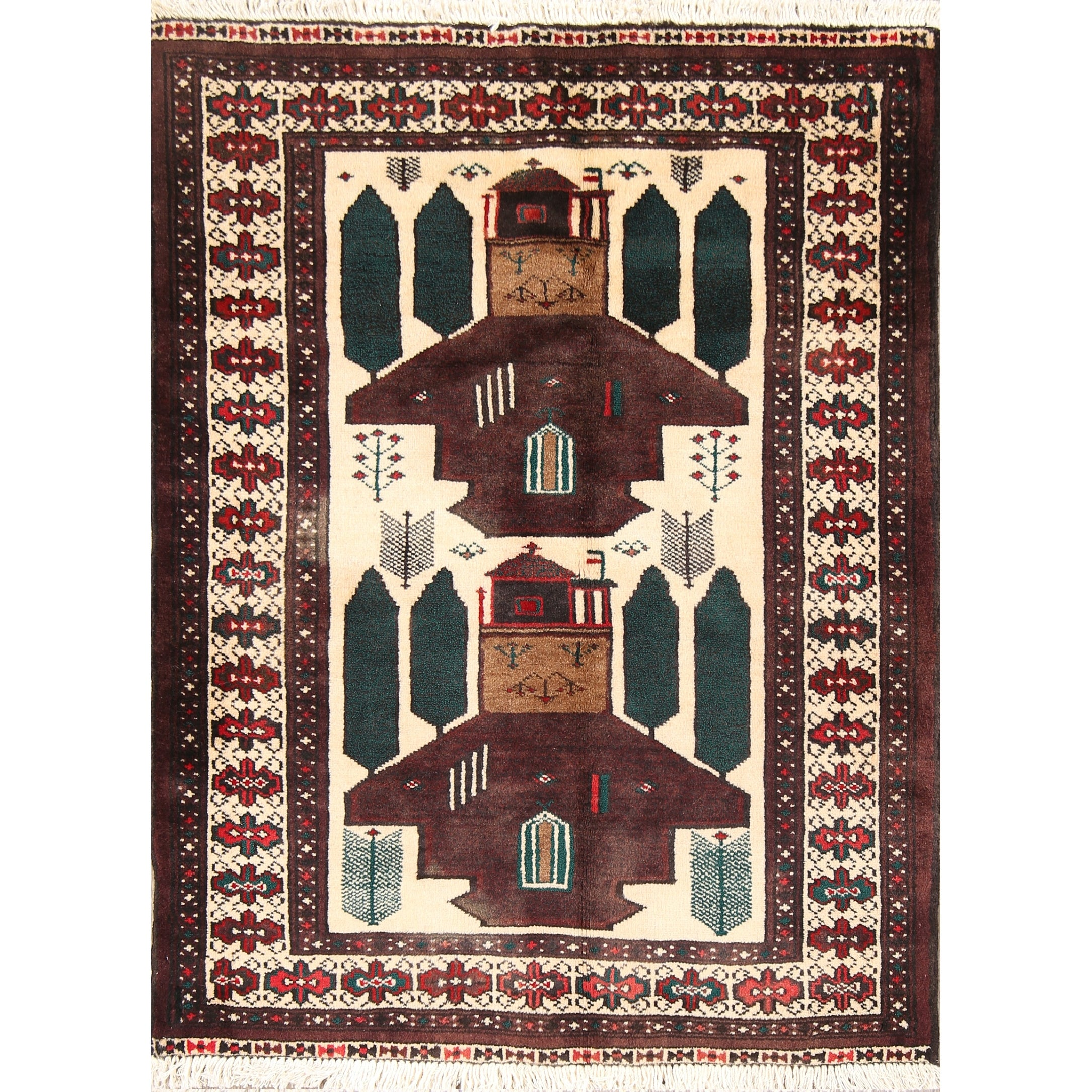 Turkoman Hand Knotted Persian Geometric Area Rug Wool 3 6 X 2 7 On Sale Overstock 26479500