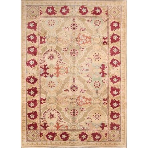 """Oushak Hand Knotted Wool Oriental Floral Area Rug - 11'10"""" x 8'9"""""""