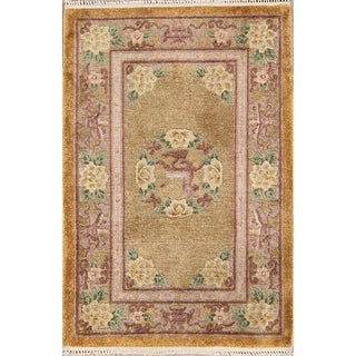 """Art Deco Hand Knotted Antique Oriental Floral Area Rug - 3'0"""" x 2'1"""""""