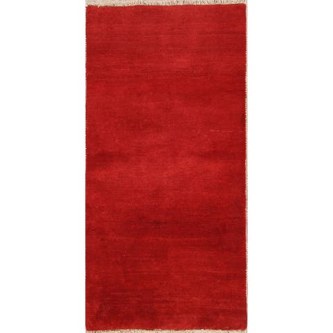 "Gabbeh Shiraz Handmade Wool Persian Modern Rug Solid Red Carpet - 6'4"" x 3'2"" Runner"