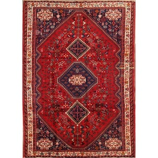 """Shiraz Hand Knotted Wool Vintage Persian Tribal Area Rug - 9'2"""" x 6'5"""""""