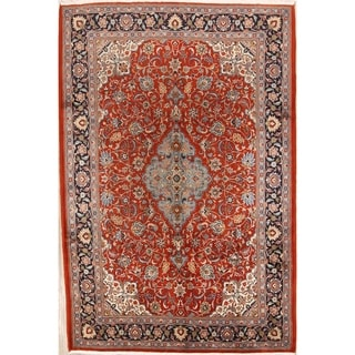 "Vintage Sarouk Persian Hand Knotted Floral Medallion Area Rug - 9'11"" x 6'7"""