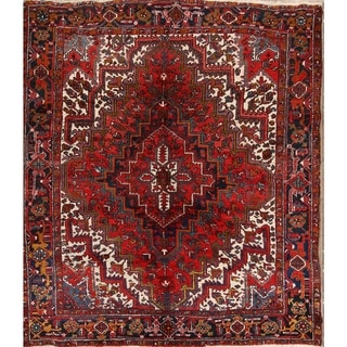 "Heriz Wool Hand Knotted Vintage Persian Geometric Area Rug - 8'9"" x 7'8"" Square"