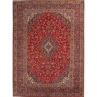 "Kashan Hand Knotted Wool Vintage Persian Medallion Area Rug - 13'1"" x 9'7"""