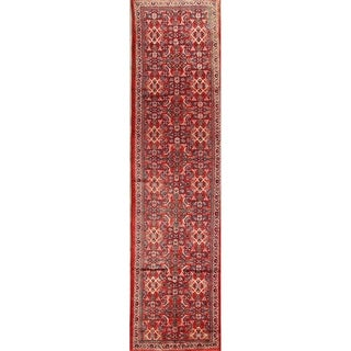 """Hand Knotted Wool Geometric Mahal Vintage Persian Rug - 12'11"""" x 3'4"""" Runner"""