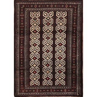 "Balouch Turkoman Hand Knotted Persian Geometric Area Rug - 3'9"" x 2'8"""