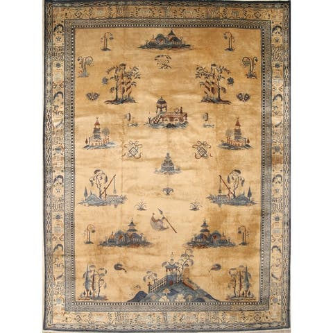 """Peking Chinese Handmade Wool Oriental Pictorial Area Rug - 13'4"""" x 9'10"""""""