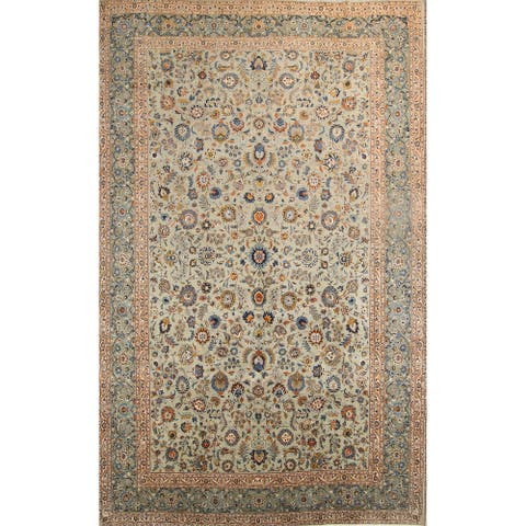 """Kashan Hand Knotted Wool Vintage Persian Floral Area Rug - 18'2"""" x 11'4"""""""