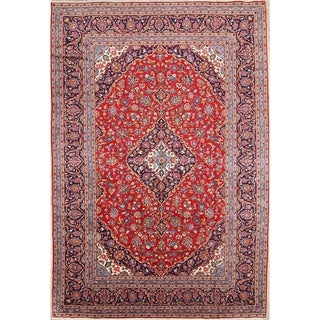 "Kashan Hand Knotted Wool Persian Medallion Traditional Area Rug - 11'8"" x 7'11"""