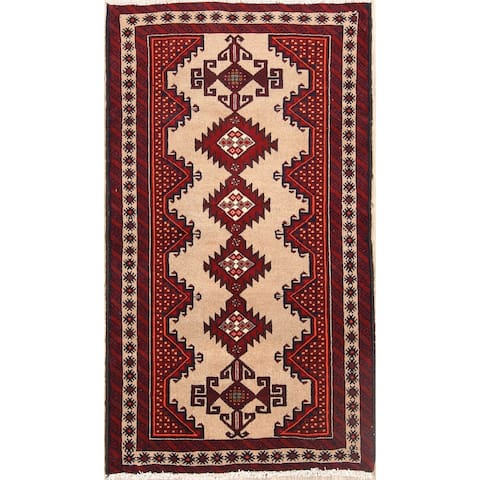 "Balouch Hand Knotted Wool Persian Geometric Area Rug - 6'4"" x 3'5"""