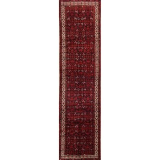"""Hand Knotted Wool Hamedan Geometric Vintage Persian Rug - 13'4"""" x 3'4"""" Runner"""