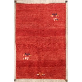 """Gabbeh Shiraz Solid Hand Knotted Wool Persian Modern Area Rug - 5'11"""" x 4'0"""""""