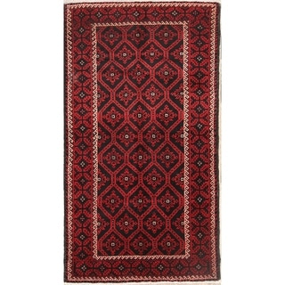 """Balouch Hand Knotted Wool Persian Geometric Area Rug - 6'9"""" x 3'7"""""""