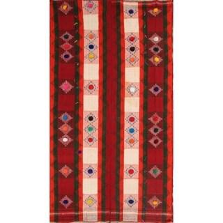 "Kilim Shiraz Hand Woven Wool Vintage Persian Area Rug - 9'0"" x 4'11"""
