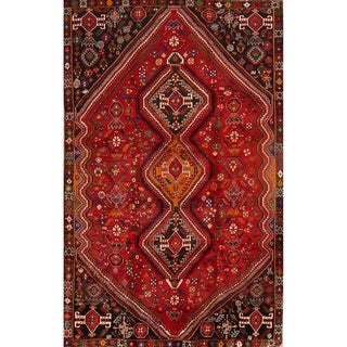 """Abadeh Shiraz Hand Knotted Vintage Persian Geometric Area Rug - 8'11"""" x 5'7"""""""