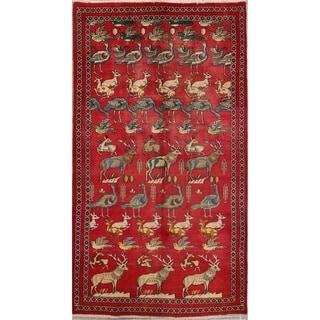 """Heriz Wool Handmade Wool Vintage Persian Geometric Area Rug - 9'10"""" x 5'4"""""""