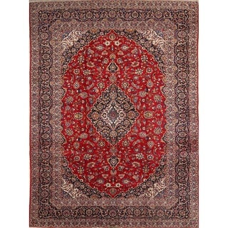 "Kashan Hand Knotted Wool Vintage Persian Floral Area Rug - 12'9"" x 9'5"""
