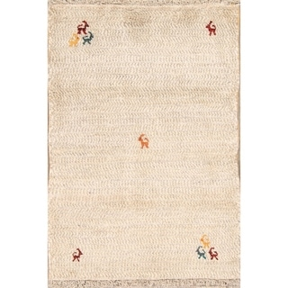 """Gabbeh Shiraz Hand Knotted Woolen Persian Modern Solid Area Rug - 4'0"""" x 2'9"""""""