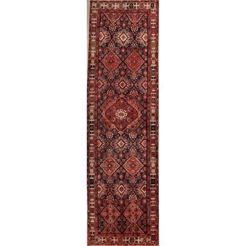 "Bakhtiari Hand Made Woolen Vintage Persian Geometric Rug - 12'10"" x 3'9"" Runner"