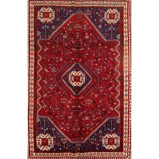 "Abadeh Hand Knotted Vintage Persian Geometric Area Rug - 8'9"" x 5'9"""