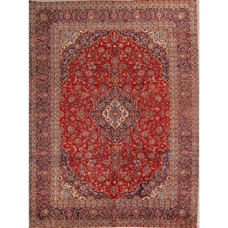 "Kashan Hand Knotted Wool Vintage Persian Medallion Area Rug - 13'1"" x 9'10"""