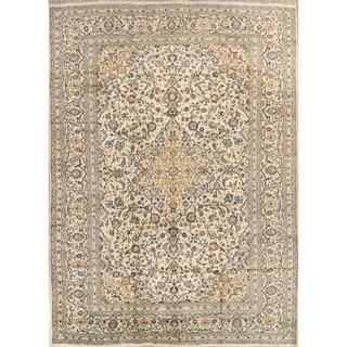 "Kashan Hand Made Wool Vintage Persian Floral Medallion Area Rug - 13'3"" x 9'5"""