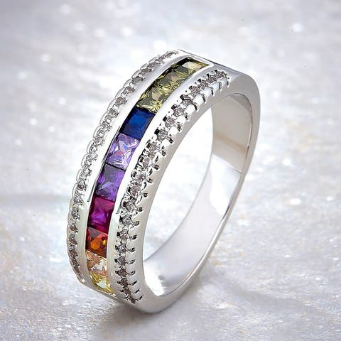 Divina Silver Overlay Created Multicolor Gemstone and White Sapphire Fashion Ring