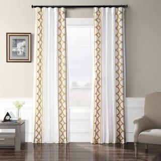 Exclusive Fabrics  Embroidered Faux Silk Taffeta Curtain Panel