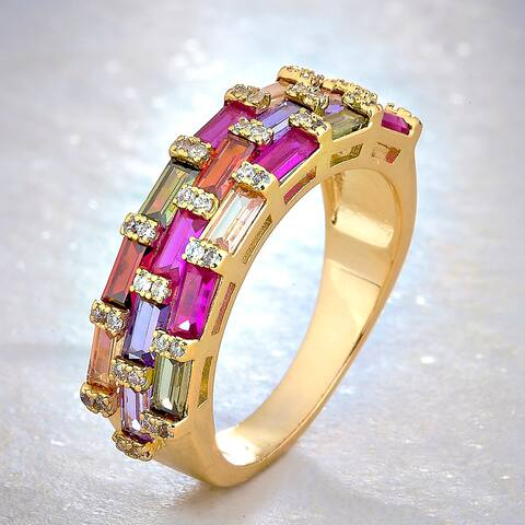 Divina Gold Overlay Created Multicolor Gemstone and White Sapphire 3-Row Fashion Ring