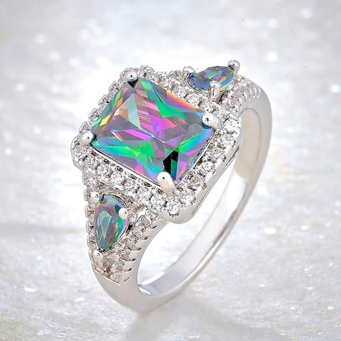 Divina Silver Overlay Created Mystic Fire Topaz and Cubic Zirconia Fashion Ring