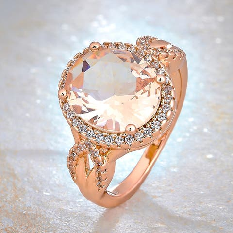 Divina Gold Overlay Created Morganite and Cubic Zirconia Fashion Ring