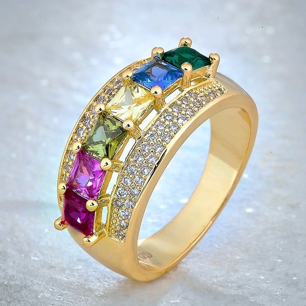 Divina Gold Overlay Created Multicolor Gemstone and White Sapphire Fashion Ring. Opens flyout.