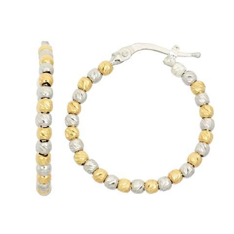 Isla Simone Sterling Silver Diamond Cut Bead Hoops