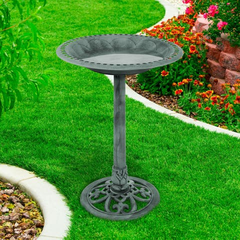 Antique Weather Resistant Resin Birdbath, Vintage Scroll Design, 3 Ground Stakes by Pure Garden