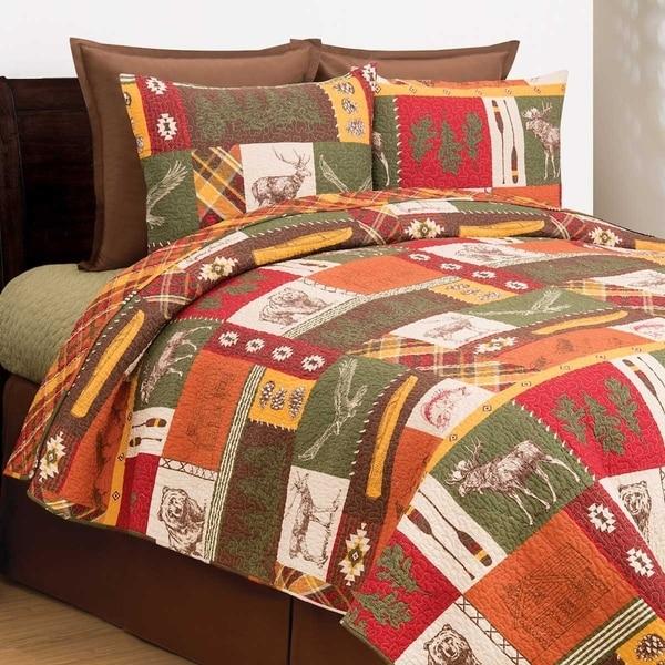 Lodge Quilt Set Microfiber Reversibile Rustic Lodge Motifs Home Fashion 3 Piece