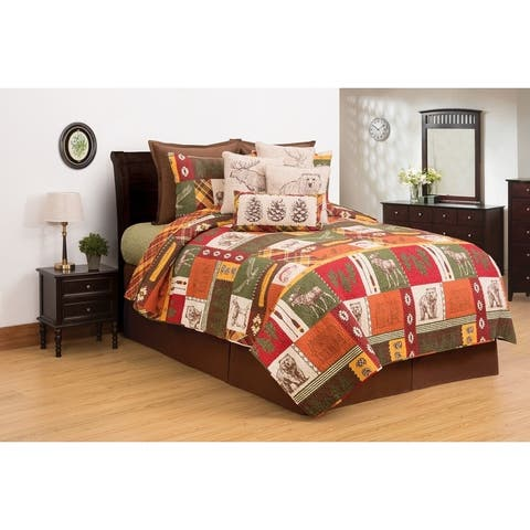 Keaton Forest Lodge Reversible Cotton 3 Piece Quilt Set - Twin 2 Piece