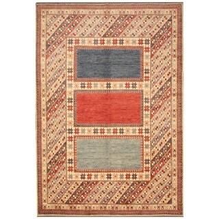 Handmade Vegetable Dye Kazak Wool Rug (Afghanistan) - 7'4 x 9'6