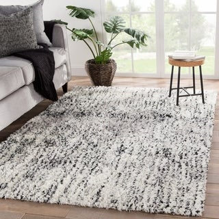 Galvin Dots White/ Black Area Rug