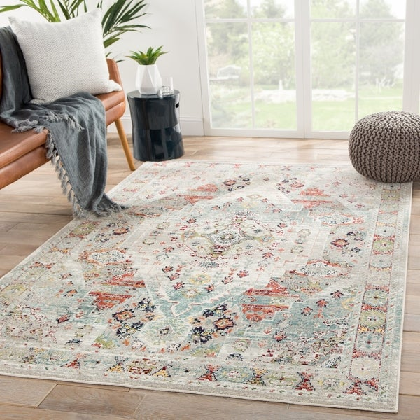 The Curated Nomad Parsons Indoor/Outdoor Medallion Green Area Rug