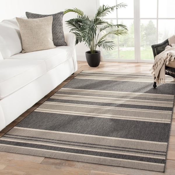 Porch & Den Keiko Grey/ Beige Stripes Indoor/ Outdoor Area Rug